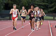 May 2, 2019; Stanford, CA, USA; George Espino (106) of Southern Utah defeats Michael Wilson (392) of New Mexico to win the 800m, 1:48.44 to 1:48.77 during the 24th Payton Jordan Invitational at Cobb Track & Angell Field. ,