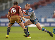Ryan Hinchcliffe of Huddersfield Giants runs at Mickael Simon of Catalans Dragons during the Ladbrokes Challenge Cup match at the John Smiths Stadium, Huddersfield<br /> Picture by Richard Land/Focus Images Ltd +44 7713 507003<br /> 31/05/2018