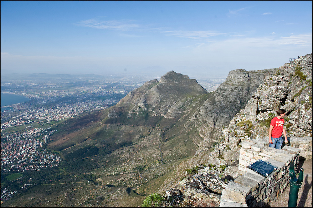 A dutch young worker is seen on the top of Table Mountain, Cape Town, South Africa.