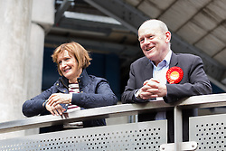 © Licensed to London News Pictures. 23/05/2015. London, UK. Labour Party candidate for Tower Hamlets Mayor, John Biggs is joined by Tessa Jowell as he speaks to canvassers on the Isle of Dogs in Tower Hamlets, east London. The Tower Hamlets Mayoral election will be re-run on 11th June after a High Court election petition found the previously elected mayor, Lutfur Rahman guilty of corrupt and illegal practices. Photo credit : Vickie Flores/LNP