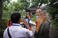 Study Abroad CALS students listen to the tour guide while visiting the Humble Administrator's Garden in Suzhou.