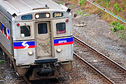 USA, Pennsylvania, Philadelphia. A SEPTA commuter train in downtown Philadelphia.