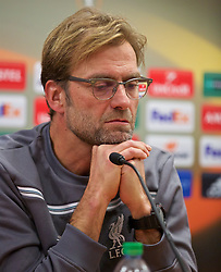 LIVERPOOL, ENGLAND - Wednesday, November 25, 2015: Liverpool's manager Jürgen Klopp during a press conference at Melwood Training Ground ahead of the UEFA Europa League Group Stage Group B match against FC Girondins de Bordeaux. (Pic by David Rawcliffe/Propaganda)