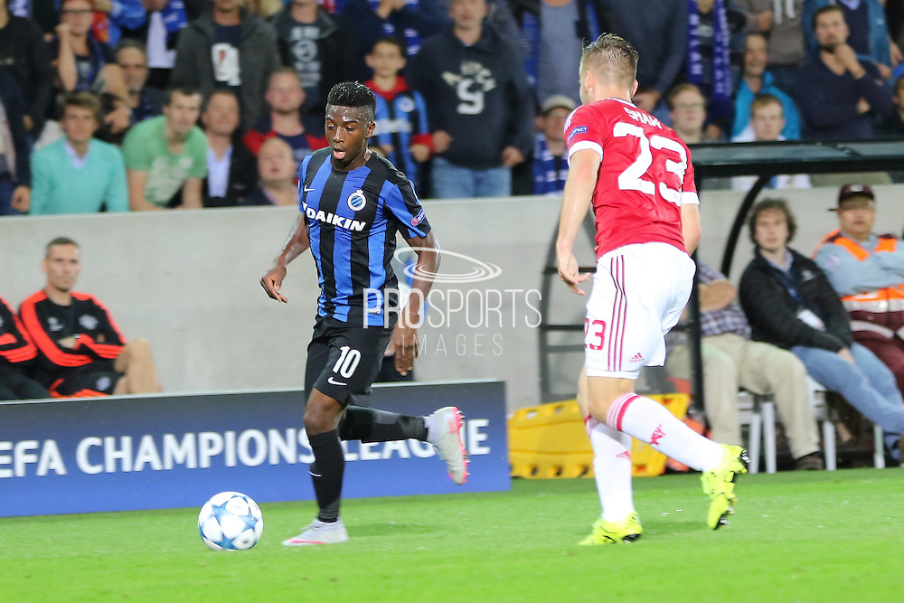 Abdoulay Diaby of Club Brugge attacks during the Champions League Qualifying Play-Off Round match between Club Brugge and Manchester United at the Jan Breydel Stadion, Brugge, Belguim on 26 August 2015. Photo by Phil Duncan.