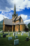 """Viking stave church at Lom, rebuilt 1300 AD, Norway, Europe. Published in Wilderness Travel 1988 Trip Schedule. Published in """"Light Travel: Photography on the Go"""" book by Tom Dempsey 2009, 2010."""
