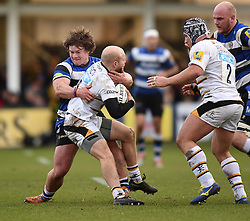 Bath Rugby prop Nick Auterac tackles Wasps scrum half Joe Simpson in Aviva Premiership match at the Recreation Ground - Photo mandatory by-line: Paul Knight/JMP - Mobile: 07966 386802 - 10/01/2015 - SPORT - Rugby - Bath - The Recreation Ground - Bath Rugby v Wasps - Aviva Premiership
