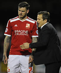 Swindon Town's Ben Gladwin with Swindon Town Manager, Mark Cooper - Photo mandatory by-line: Dougie Allward/JMP - Mobile: 07966 386802 - 11/05/2015 - SPORT - Football - Swindon - County Ground - Swindon Town v Sheffield United - Sky Bet League One - Play-Off