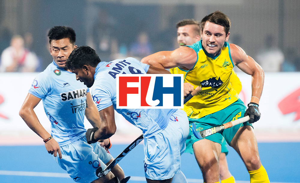 BHUBANESWAR - The Odisha Men's Hockey World League Final . Match ID 02. Australia v India. Jeremy Hayward (Aus) scored 1-1. left Amit Rohidas (Ind)   .WORLDSPORTPICS COPYRIGHT  KOEN SUYK