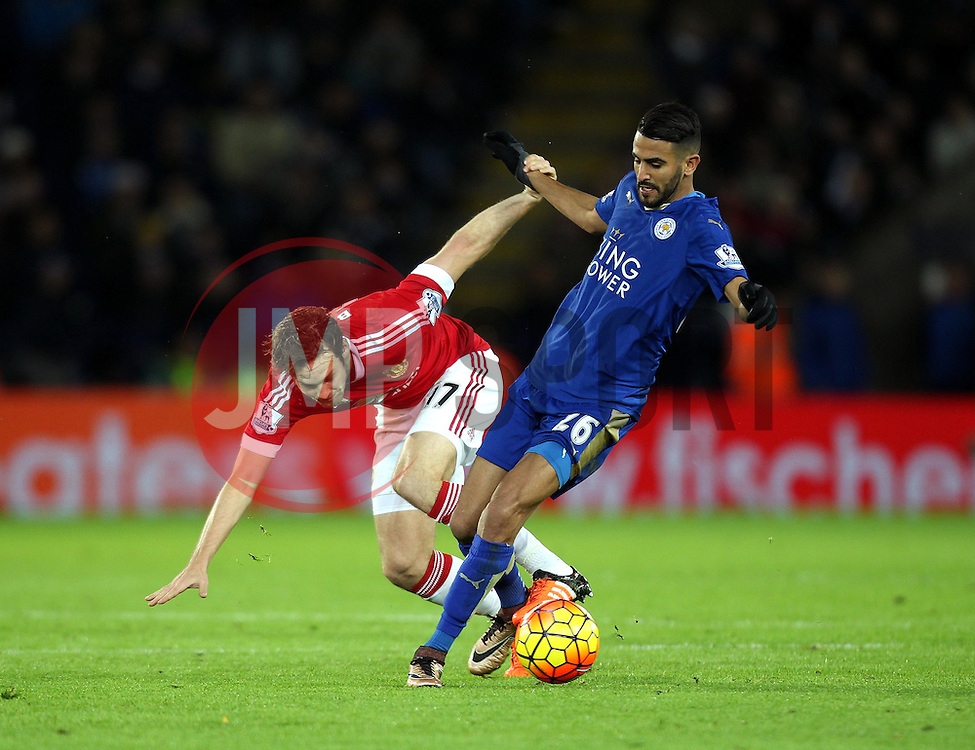 Riyad Mahrez of Leicester City and Daley Blind of Manchester United battle for possession - Mandatory byline: Robbie Stephenson/JMP - 28/11/2015 - Football - King Power Stadium - Leicester, England - Leicester City v Manchester United - Barclays Premier League