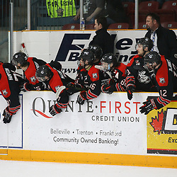 """TRENTON, ON  - MAY 5,  2017: Canadian Junior Hockey League, Central Canadian Jr. """"A"""" Championship. The Dudley Hewitt Cup Game 7 between Georgetown Raiders and the Powassan Voodoos.   Georgetown Raiders players celebrate during the first period<br /> (Photo by Alex D'Addese / OJHL Images)"""