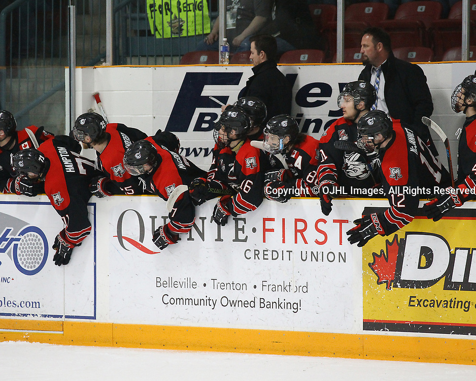 TRENTON, ON  - MAY 5,  2017: Canadian Junior Hockey League, Central Canadian Jr. &quot;A&quot; Championship. The Dudley Hewitt Cup Game 7 between Georgetown Raiders and the Powassan Voodoos.   Georgetown Raiders players celebrate during the first period<br /> (Photo by Alex D'Addese / OJHL Images)