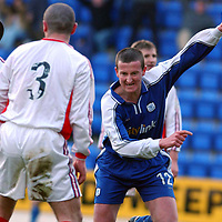 St Johnstone v Inverness Caley Thistle..  04.02.03<br />Chris Hay celebrates his first goal<br /><br />Pic by Graeme Hart<br />Copyright Perthshire Picture Agency<br />Tel: 01738 623350 / 07990 594431