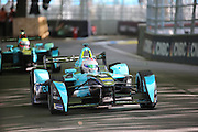 Nextev TCR driver, Oliver Turvey followed by Nextev TCR driver, Nelson Piquet Jr during Round 9 of Formula E, Battersea Park, London, United Kingdom on 2 July 2016. Photo by Matthew Redman.