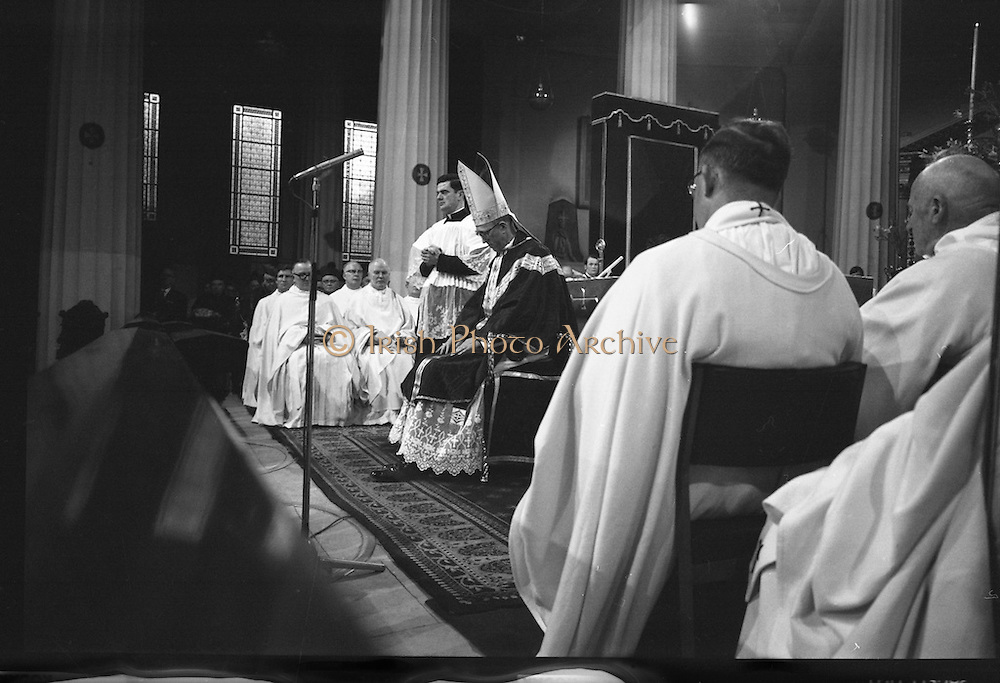 Archbishop Ryan Installed as Archbishop of Dublin..1972..27.02.1972..02.27.1972..27th February 1972..The installation of the Most Rev Dr Dermot Ryan as Archbishop of Dublin took place in The pro Cathedral,Dublin on Sunday 27th Feb 1972..Picture of Archbishop elect Dr Dermot Ryan in contemplative mode as his installation ceremony is conducted.