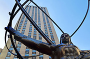 Sculpture of Atlas carrying the world, 1937, by Lee Lawrie, 1877-1963, at Rockefeller Center on Fifth Avenue, Manhattan, New York, New York, USA. The Rockefeller Center consists of 19 skyscrapers between Fifth and Sixth Avenues built 1930-39 for the Rockefeller family. Picture by Manuel Cohen