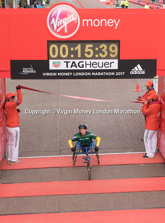 Winner of the U14 Boys Wheelchair Race. The Virgin Money London Marathon, 23rd April 2017.<br /> <br /> Photo: Thomas Lovelock for Virgin Money London Marathon<br /> <br /> For further information: media@londonmarathonevents.co.uk