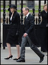 Theresa May and her husband attend Lady Thatcher's funeral at St Paul's Cathedral following her death last week, London, UK, Wednesday 17 April, 2013, Photo by: Andrew Parsons / i-Images