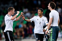 Maximilian Dittgen of Germany, Jeremy Dudziak of Germany and Oliver Schnitzler of Germany celebrate victory during the UEFA European Under-17 Championship Group A match between Germany and France on May 10, 2012 in SRC Stozice, Ljubljana, Slovenia. Germany defeated France 3:0. (Photo by Matic Klansek Velej / Sportida.com)