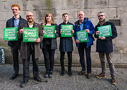 Hunter Square, Edinburgh, Scotland, United Kingdom, 28 November 2019. General Election: The Scottish Greens demand action about climate change as part of their general election campaign. Pictured (L to R) Ross Greer, MSP, Patrick Harvie, MSP & Scottish Green Party Leader, Cameron Glasgow, Scottish Green candidate for Livingston (and youngest Scottish candidate  at 19 years of age), Gillian Mackay, Scottish Green Party candidate for Linlithgow & East Falkirk and Dr Steve Burgess, Scottish Green councillor in Edinburgh & the Greens' spokesperson on Climate Change.<br /> Sally Anderson | EdinburghElitemedia.co.uk