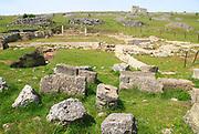 Building ruins Acinipo Roman town site Ronda la Vieja, Cadiz province, Spain