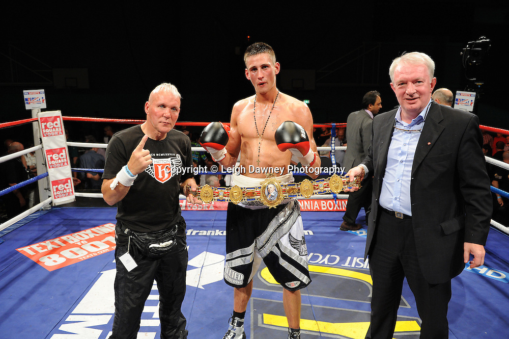 Prince Arron and team celebrate the defeat over Sam Webb claiming the British Light middleweight title at Medway Park, Gillingham,13th May 2011. Frank Maloney Promotions. Photo credit © Leigh Dawney.