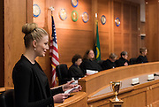 The 81st Linden Cup moot court competition April 2 at Gonzaga Law School was judged by members of the Washington and Montana supreme courts. (Photo by Edward Bell)