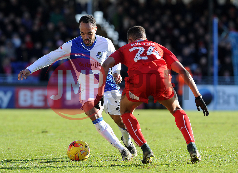 Luke James of Bristol Rovers is challenged by Jermaine Hylton of Swindon Town - Mandatory by-line: Neil Brookman/JMP - 28/01/2017 - FOOTBALL - Memorial Stadium - Bristol, England - Bristol Rovers v Swindon Town - Sky Bet League One