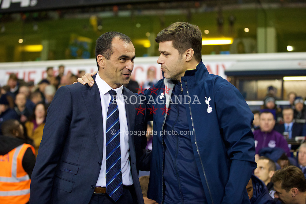 LONDON, ENGLAND - Sunday, November 30, 2014: Everton's manager Roberto Martinez and Tottenham Hotspur's manager Mauricio Pochettino during the Premier League match at White Hart Lane. (Pic by David Rawcliffe/Propaganda)