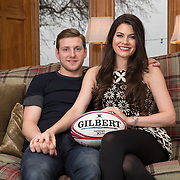 Glasgow Warriors Finn Russell and his girlfriend the current Miss Scotland Mhairi Fergusson at her home near Stirling. Picture Robert Perry 21st Jan 2016<br /> <br /> Must credit photo to Robert Perry<br /> FEE PAYABLE FOR REPRO USE<br /> FEE PAYABLE FOR ALL INTERNET USE<br /> www.robertperry.co.uk<br /> NB -This image is not to be distributed without the prior consent of the copyright holder.<br /> in using this image you agree to abide by terms and conditions as stated in this caption.<br /> All monies payable to Robert Perry<br /> <br /> (PLEASE DO NOT REMOVE THIS CAPTION)<br /> This image is intended for Editorial use (e.g. news). Any commercial or promotional use requires additional clearance. <br /> Copyright 2014 All rights protected.<br /> first use only<br /> contact details<br /> Robert Perry     <br /> 07702 631 477<br /> robertperryphotos@gmail.com<br /> no internet usage without prior consent.         <br /> Robert Perry reserves the right to pursue unauthorised use of this image . If you violate my intellectual property you may be liable for  damages, loss of income, and profits you derive from the use of this image.