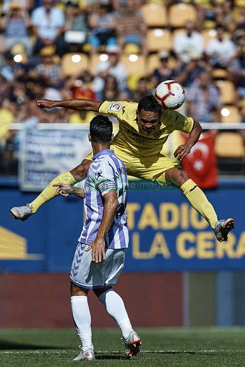September 30, 2018 - Vila-Real, Castellon, Spain - Carlos Bacca (R) of Villarreal CF heads the ball next to Javier Moyano Lujano of Real Valladolid during the La Liga match between Villarreal CF and Real Valladolid at Estadio de la Ceramica on September 30, 2018 in Vila-real, Spain  (Credit Image: © David Aliaga/NurPhoto/ZUMA Press)