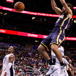 March 11, 2012; Orlando, FL, USA; Indiana Pacers forward Jeff Pendergraph (29) dunks against the Orlando Magic during the fourth quarter of a game at  Amway Center. The Magic defeated the Pacers 107-94.  Mandatory Credit: Derick E. Hingle-US PRESSWIRE