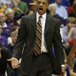 14 February 2009: LSU head coach Trent Johnson reacts to a play during 73-66 win by the LSU Tigers against SEC rival the Ole Miss Rebels at the Pete Maravich Assembly Center in Baton Rouge, LA.
