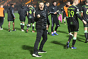 Forest Green Rovers manager, Mark Cooper celebrates with the supporters during the EFL Sky Bet League 2 match between Yeovil Town and Forest Green Rovers at Huish Park, Yeovil, England on 8 December 2018.