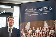 President Thayne McCulloh at anniversary celebration of UWSOM-GU Regional Health Partnership on March 2 on GU campus.