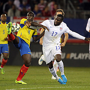 Jozy Altidore, (right), USA, challenges Segundo Castillo, Ecuador, during the USA Vs Ecuador International match at Rentschler Field, Hartford, Connecticut. USA. 10th October 2014. Photo Tim Clayton