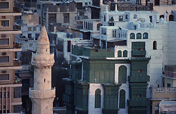 Detail of architecture with minaret and old buildings of Riyadh, Saudi Arabia.