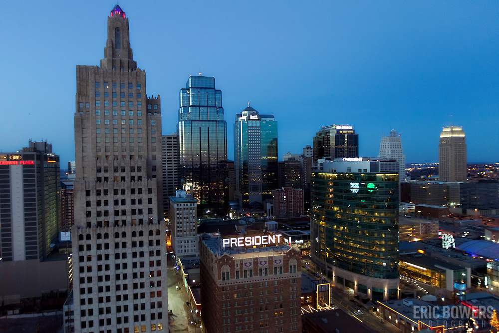 Aerial photo of downtown Kansas City, Missouri skyline at dusk