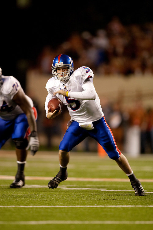 Todd Reesing, # 5 QB. Kansas Jayhawks at Texas Longhorns. Photographed at Darrell K. Royal-Texas Memorial Stadium in Austin, Texas on Saturday, November 21 2009.
