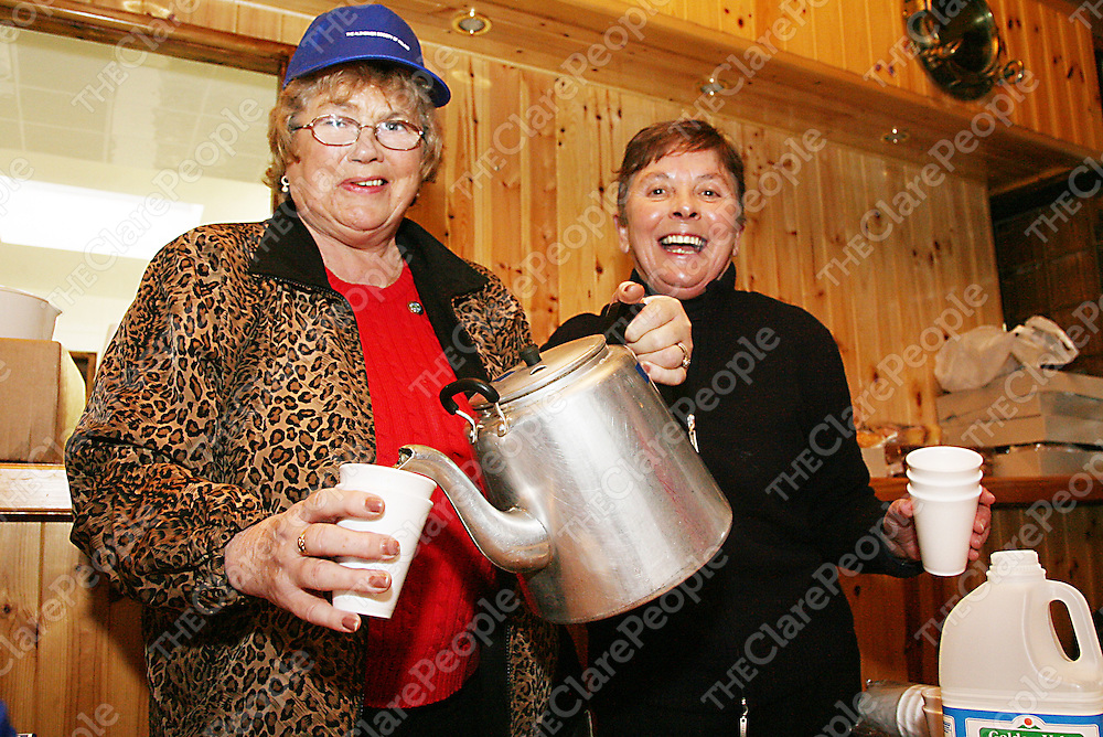 Marie Maloney and Jean Considine had the tea ready for when the walkers got back at the annual Alzheimers walk in Fanore on Sunday.<br />