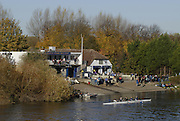 London, GREAT BRITAIN, Competing clubs, park their boats on Dukes Meadows, to boat from the Civil Service and Emanuel School Boat House slipway, to take part in the, 2006 Fours Head of the River Race. Sat. 18.11. 2006. Chiswick, West London.  [Photo, Peter Spurrier/Intersport-images]. Rowing Course: River Thames, Championship course, Putney to Mortlake 4.25 Miles