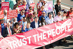 © Licensed to London News Pictures . 21/09/2019. Brighton, UK. EMILY THORNBERRY, KEIR STARMER and CAROLINE LUCAS lead the march . Thousands attending a march organised by the People's Vote for a second EU referendum on Brexit pass through Brighton and along the Promenade during the first day of the 2019 Labour Party Conference from the Brighton Centre . Photo credit: Joel Goodman/LNP