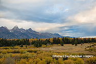 67545-09609 Fall color and Grand Teton Mountain Range from Blacktail Falls Overlook, Grand Teton National Park, WY
