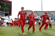 Lancashire Thunders Danielle Hazell (Captain) leads her team out during the Women's Cricket Super League match between Lancashire Thunder and Surrey Stars at the Emirates, Old Trafford, Manchester, United Kingdom on 7 August 2018.