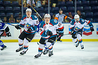 KELOWNA, CANADA - AUGUST 31:  Kyle Crosbie #25 of the Kelowna Rockets skates against the Victoria Royals on August 31, 2018 at Prospera Place in Kelowna, British Columbia, Canada.  (Photo by Marissa Baecker/Shoot the Breeze)  *** Local Caption ***