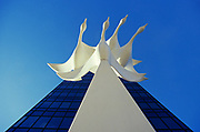 """Sculpture called """"Western Spirit"""" representing four Canadian geese; urban; city"""