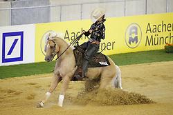 Grunsven, Anky van (NED), Whizashiningwalla BB<br /> Aachen - Europameisterschaften 2015<br /> Reining Qualifikation<br /> © www.sportfotos-lafrentz.de/Stefan Lafrentz