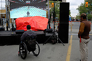 CANADA, Windsor. May, 2017. Memorial Cup Tournament outdoor downtown events diminished considerably by cold weather.