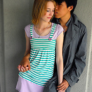 Interracial or mixed race college age couple Caucasian female and Asian (Chinese) male
