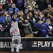 Anthony Rizzo, Chicago Cubs, makes a  great catch at first base as he reaches into the crowd during the MLB NLCS Playoffs game two, Chicago Cubs vs New York Mets at Citi Field, Queens, New York. USA. 18th October 2015. Photo Tim Clayton