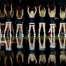 Azusa Pacific cheerleaders as the players are announced prior to a NCAA Division 2 basketball game against Cal Baptist at the Felix Events Center on the west campus of Azuza Pacific University on Thursday, Jan. 12, 2017.